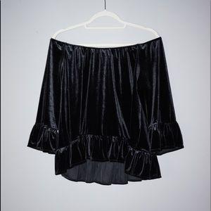 Velvet Off-The-Shoulder Long sleeve